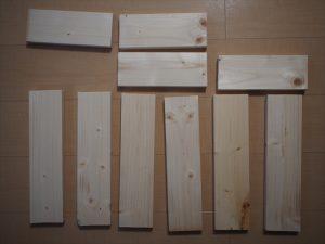 【リメイク】>内側の段ボールより一回り大きくなるよう、木材を切る