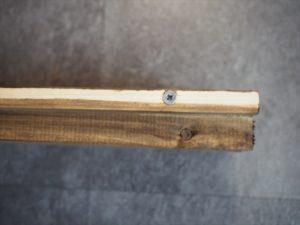 【ラティス×引き戸】レール用木材と高さ調整用木材をつける